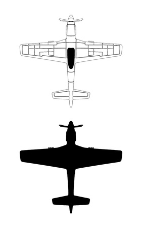world war two: P-51   with Silhouette