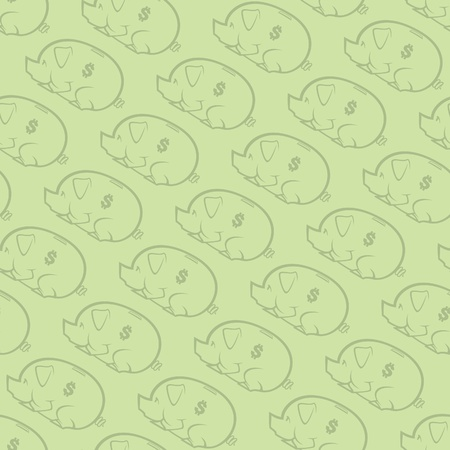 Piggy Bank Seamless Pattern Two Vector