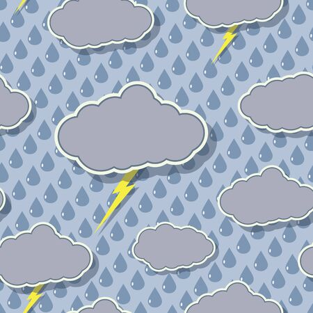Rain Clouds Seamless Pattern Stock Vector - 12097374