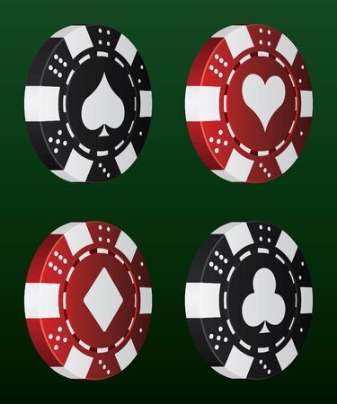 card game: Vector Poker Chips Illustration