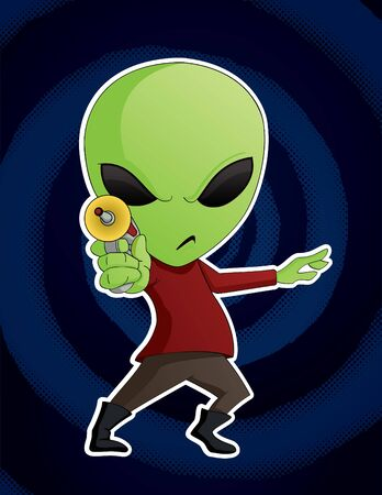 cartoon alien: Extranjero con Ray Gun Vectores