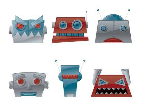 Robot Head Icons Vector