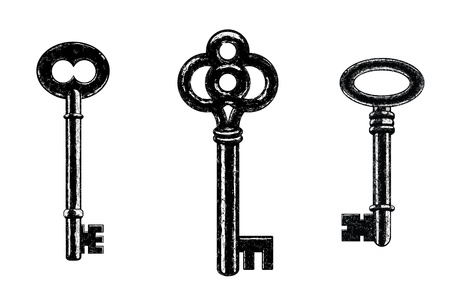 antique keys: Three Vector Skeleton Keys