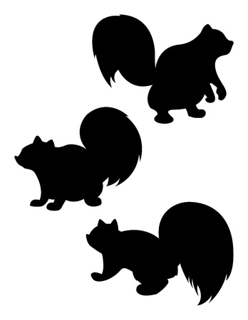 Vector Cartoon Squirrel Silhouette Фото со стока - 12093416