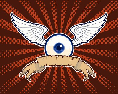 Weird Vector Eye with Wings