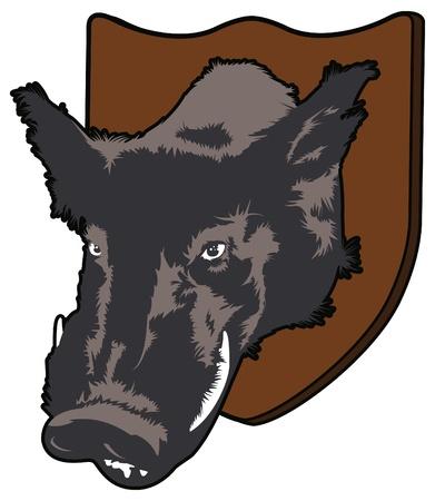 Mounted Boar Vector