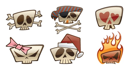 Skull Icons Two Vector