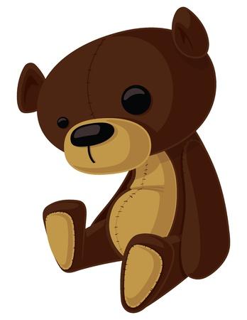 bear doll: cartoon Teddy Bear with wonky eyes.