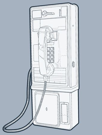 key pad: This is a line drawing (lines have been outlined) of a Public Phone. Illustration