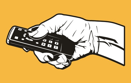 This is a illustration of a hand holding a remote control. Ilustração