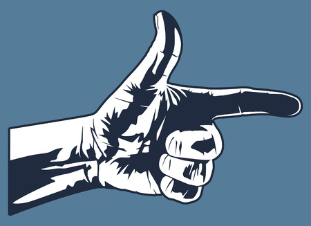 This is a graphic of a hand making a gun like hand gesture. Illustration