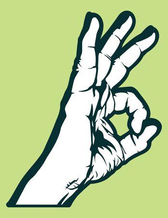ok hand symbol: Okay! illustration Illustration