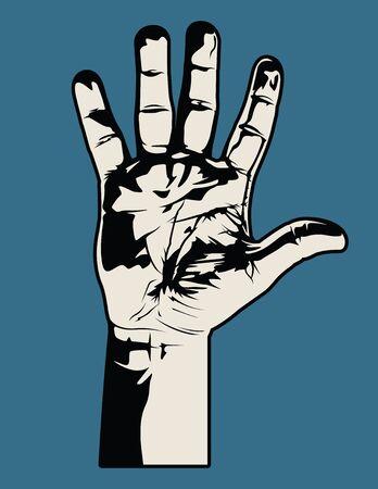 Open Hand.  Vector
