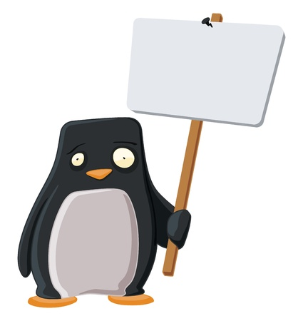 Worried Penguin with a Sign Stock Vector - 12958451