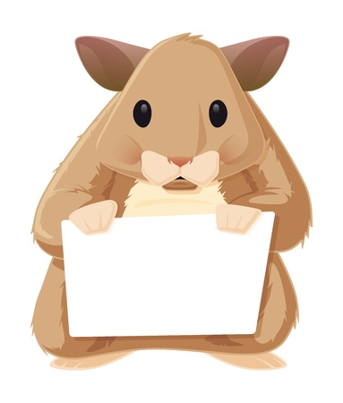Hamster with a Sign. This is a vector graphic of a furry little hamster holding a blank sign. It was saved out as an .eps 10 file, and uses some transparencies for shadows and highlights.