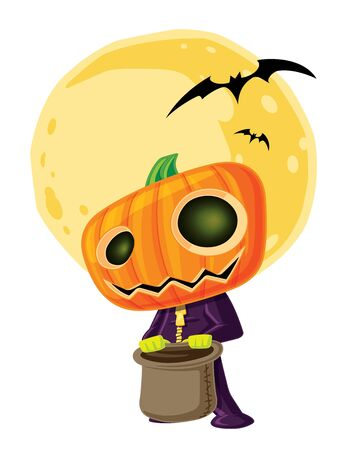macabre: illustration a small child dressed as a jack o lantern for Halloween