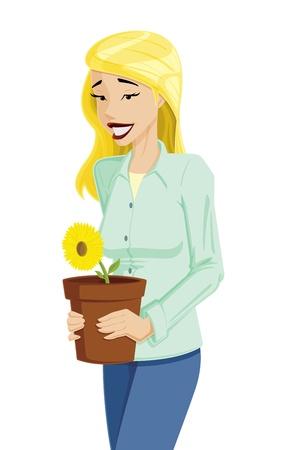 Vrouw met Flower Pot Stock Illustratie