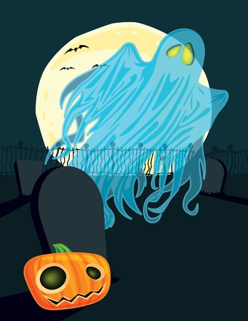 This is a illustration of a ghost in a graveyard on Halloween. This is a .eps 10 file, and some transparencies were used to create the shadows and highlights on the character. Vector