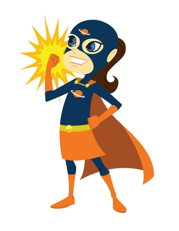 Super Kid. This is a vector graphic of a young superhero girl in costume. This is a .eps 10 file, and some transparencies were used.