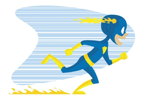 Super Kid Two. This is a vector graphic of a young superhero in costume running. This is a .eps 10 file, and some transparencies were used.