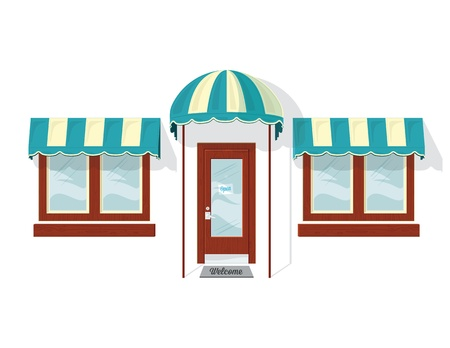 glass door: Store Front Door and Windows. Illustration