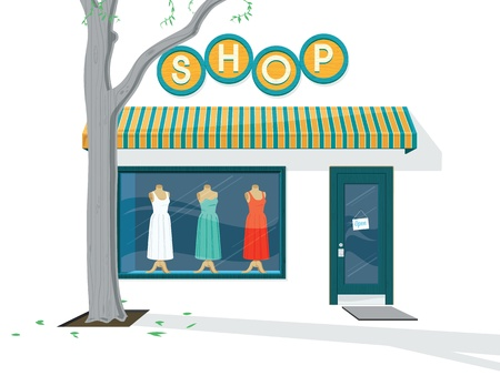 Shop Buitenkant illustratie van de Buitenkant van een jurk winkel Stock Illustratie