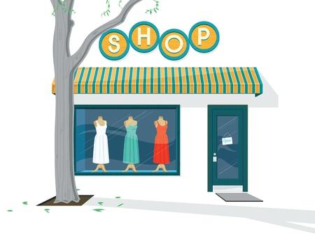 clothing shop: Shop ilustraci�n Exterior del exterior de una tienda de ropa