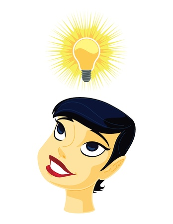明るいアイデアを得る女の子の明るい考え図それは Adobe Illustrator で作成され、10 ファイル透明が使用されたようにうちに保存されました。  イラスト・ベクター素材