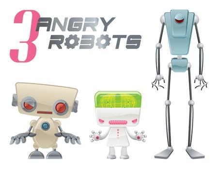 3 つの怒っているロボット