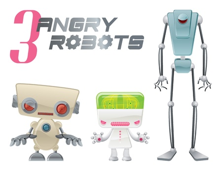 unfriendly: Three Angry Robots Illustration