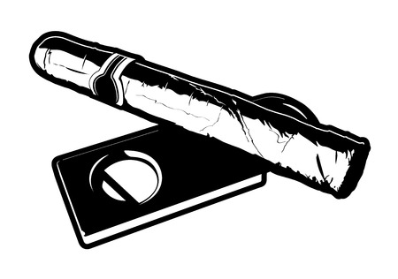 Black and white vector illustration of a cigar laying on top of a cigar cutter   Illustration