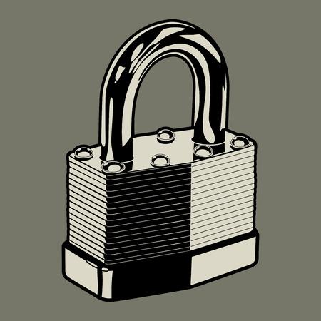 자물쇠 디자인 요소로 사용하기 위해 금속 패드 잠금의 벡터 일러스트 레이 션 일러스트