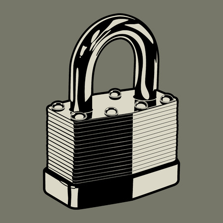 pad lock: Padlock  Vector illustration of a metal pad lock for use as a design element   Illustration