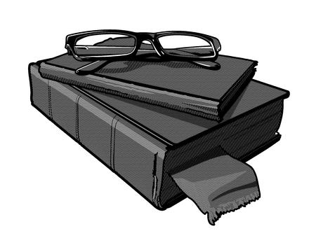 書籍のスタックでのメガネのペアのベクター グラフィック。  イラスト・ベクター素材