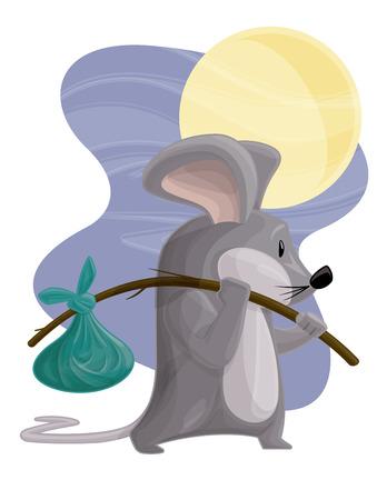 night stick: Traveling Mouse Illustration