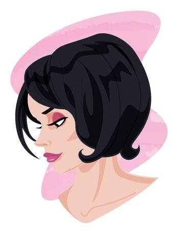 woman profile: Woman Profile Portrait Illustration