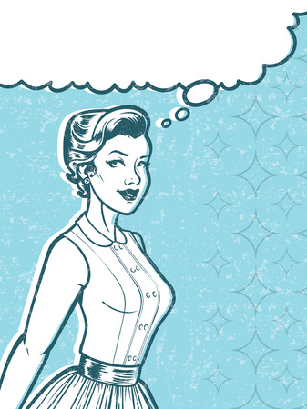 distressing: Retro Woman Art Illustration