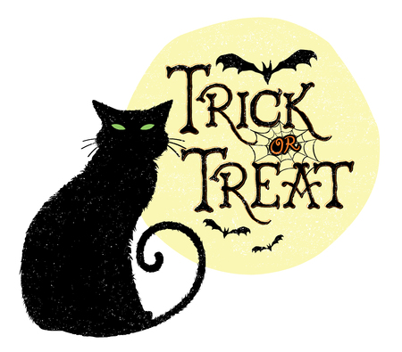 bad luck: Trick or Treat Black Cat Illustration