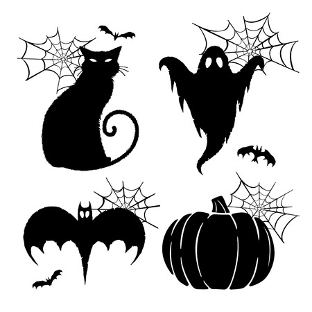 silhouetted: Halloween Graphics. Silhouetted vector halloween graphics of a ghost, black cat, bat, and pumpkin.