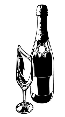 champagne flute: Champagne Bottle and Flute. Black and white vector illustration of a Champagne bottle with champagne flute.