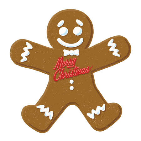 gingerbread man: Christmas Gingerbread Man. Vector Illustration of a cartoon Gingerbread Man with Merry Christmas written on him.