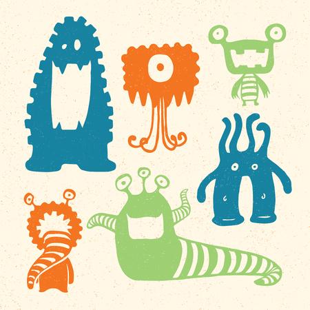 creepy alien: Cartoon Monsters. Vector Illustration of cartoon monsters.