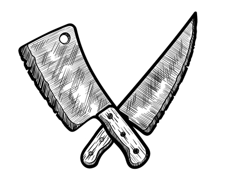 Vlees Clever en slagersmes. Vector illustratie van een hand getrokken vlees slim en slagersmes.