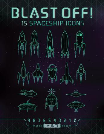 레트로 공간 로켓 아이콘입니다. 다른 우주선 및 로켓의 15 벡터 아이콘 세트.