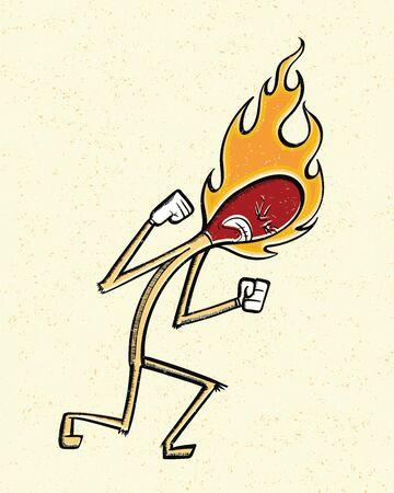 Burning Match. Vector illustration of a lit, or burning, match. Ilustração