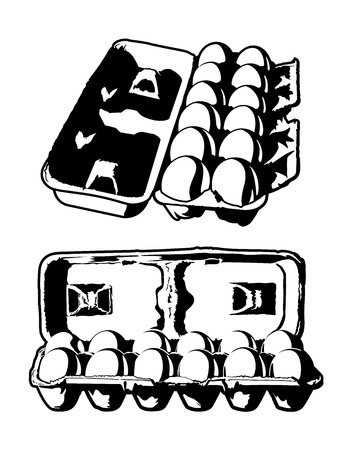 dozen: Dozen Eggs. Black and white vector illustration of a dozen eggs in an egg carton. Illustration