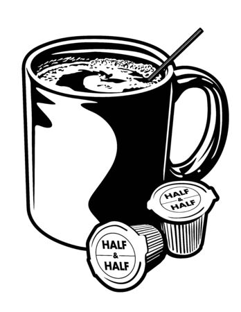 creamer: Coffee Mug  Creamer Cups.Black and white vector illustration of a coffee mug  creamer cups. Illustration
