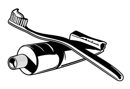 歯ブラシ歯磨き粉ベクトル。歯ブラシ歯磨き粉の黒と白のベクトル イラスト。