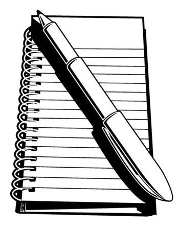 writing pad: Note pad and Pen. Black and white vector illustration of a small, ringed, note pad and pen.