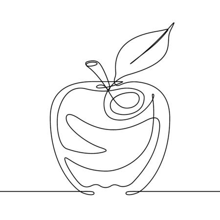 Apple Continuous Line Vector